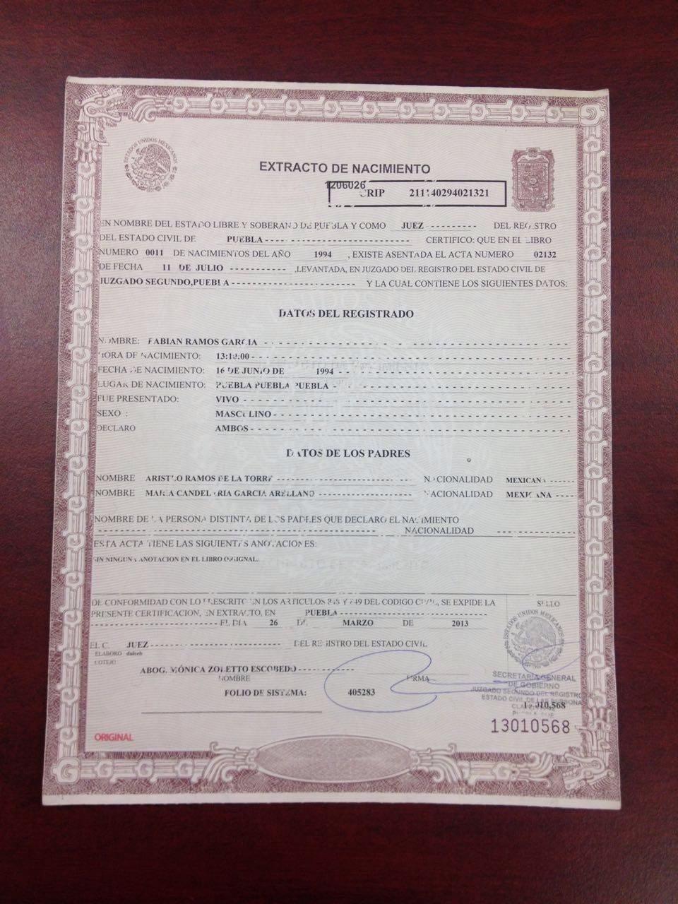 Increíble Obtener Un Certificado De Nacimiento De Florida Galería ...